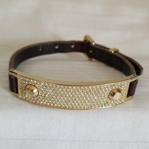 Michael Kors Leather Band Crystal Bracelet